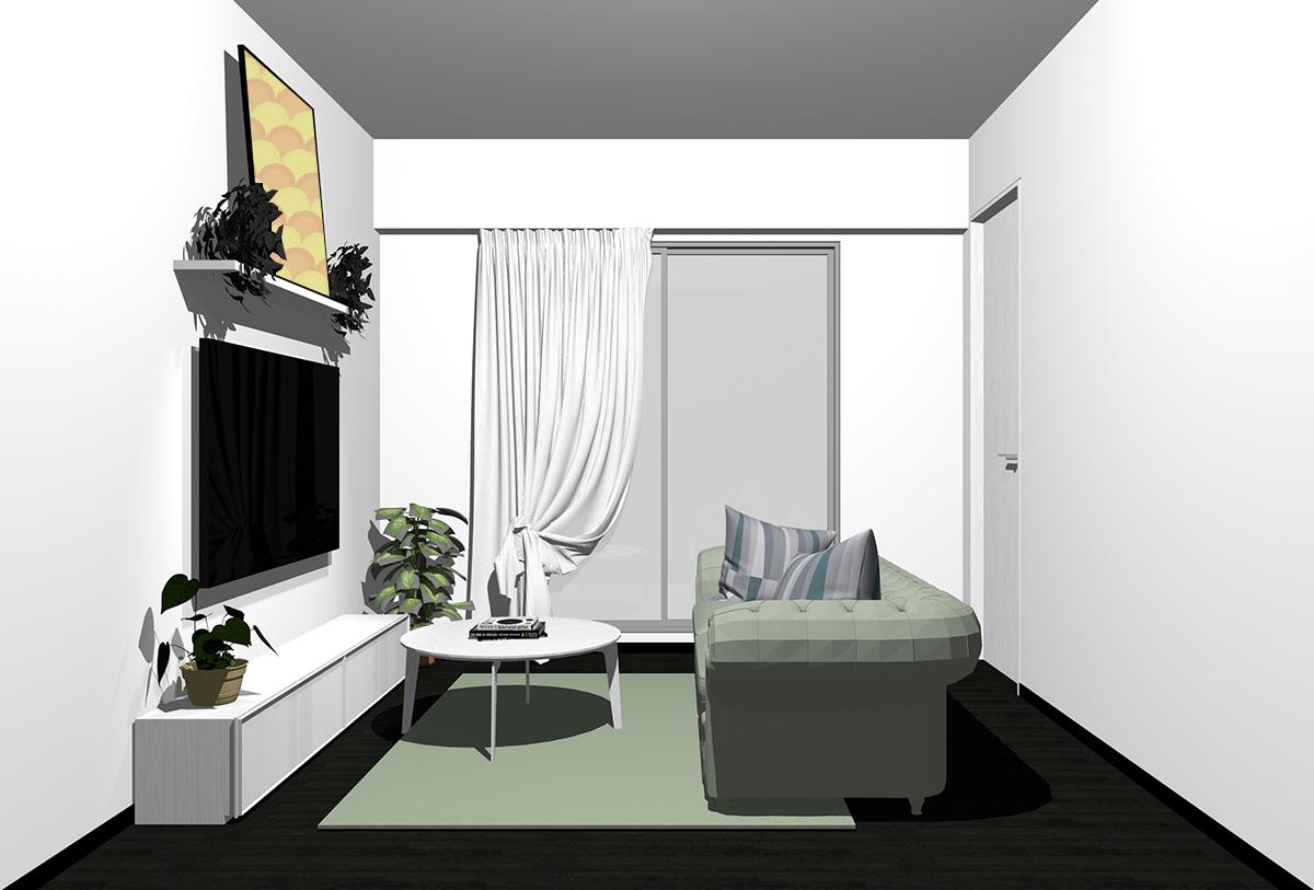 ブラックの床×ホワイトの家具の北欧インテリア