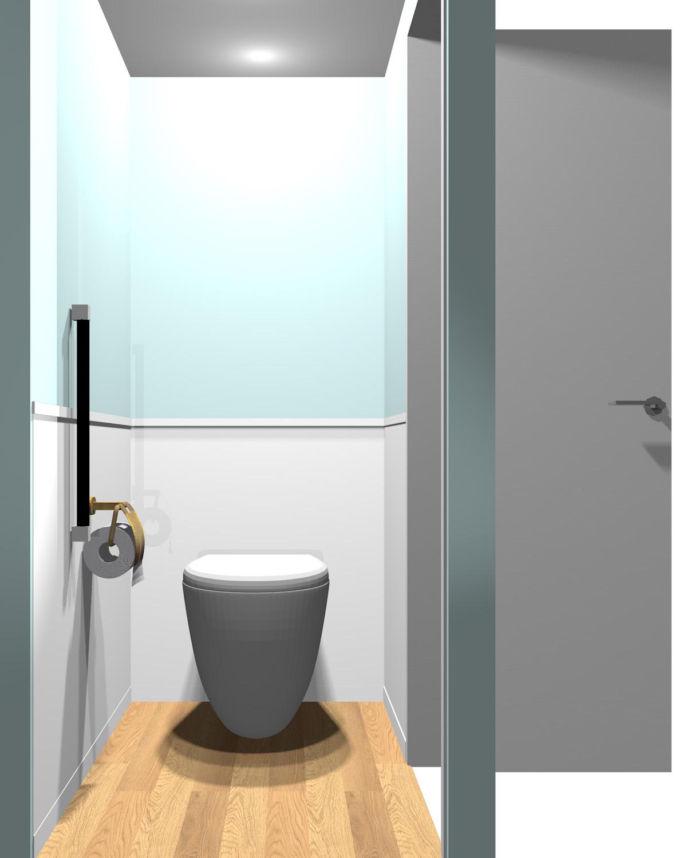 壁がブルー系のツートンのトイレ