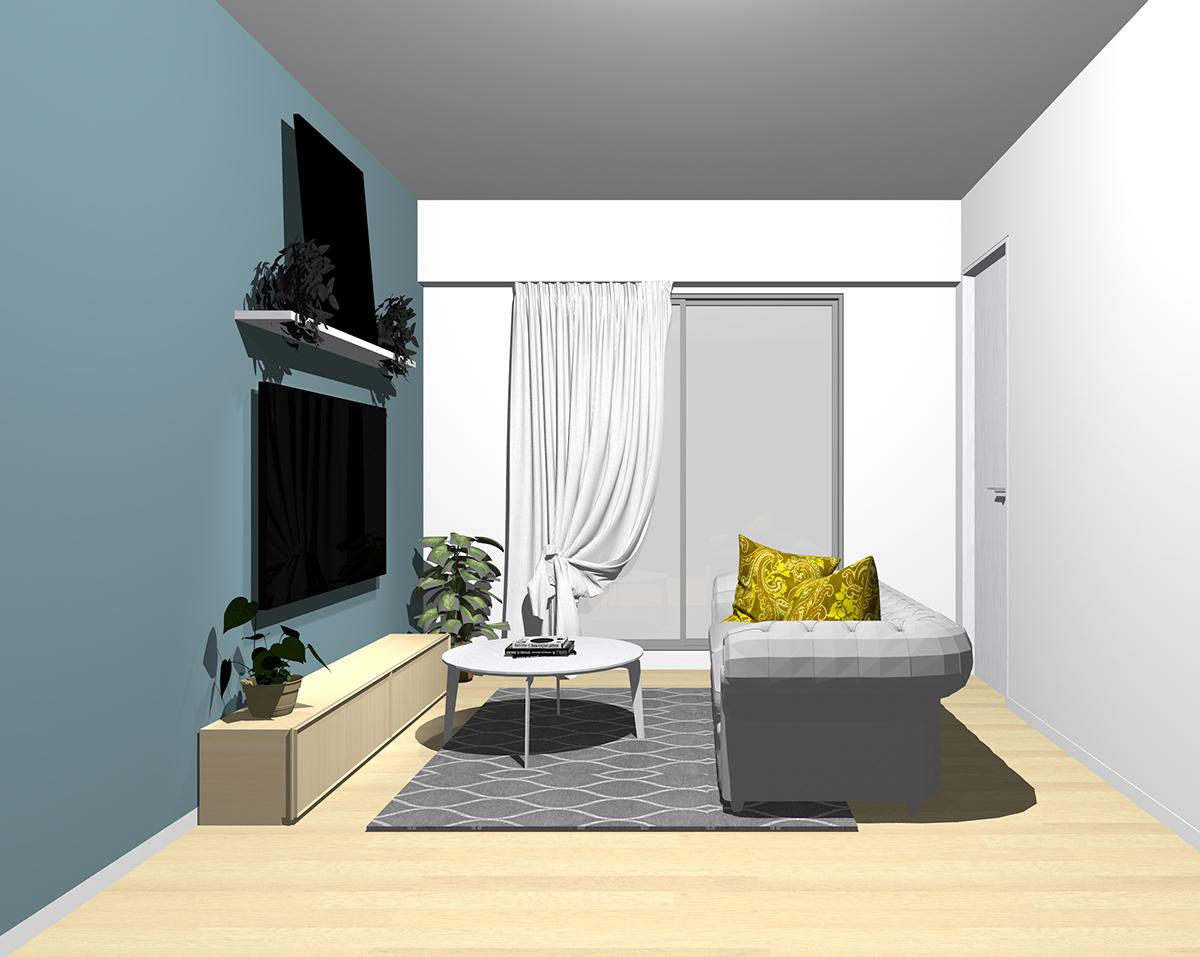 個性的(ブルーやイエロー等、目立つ有彩色を取り入れた配色)とグレーのソファ