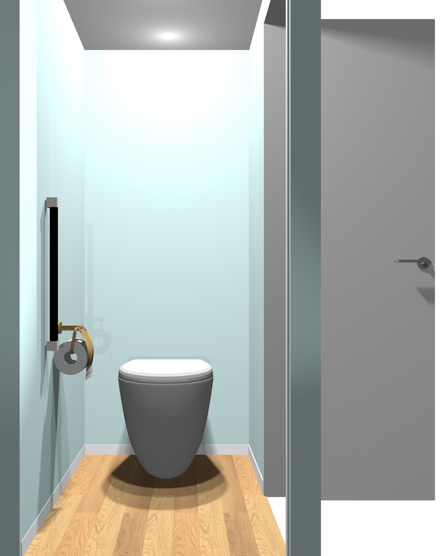 壁がブルー系一色のトイレ