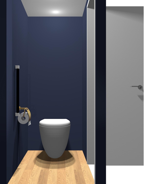壁がダークブルー系のトイレ