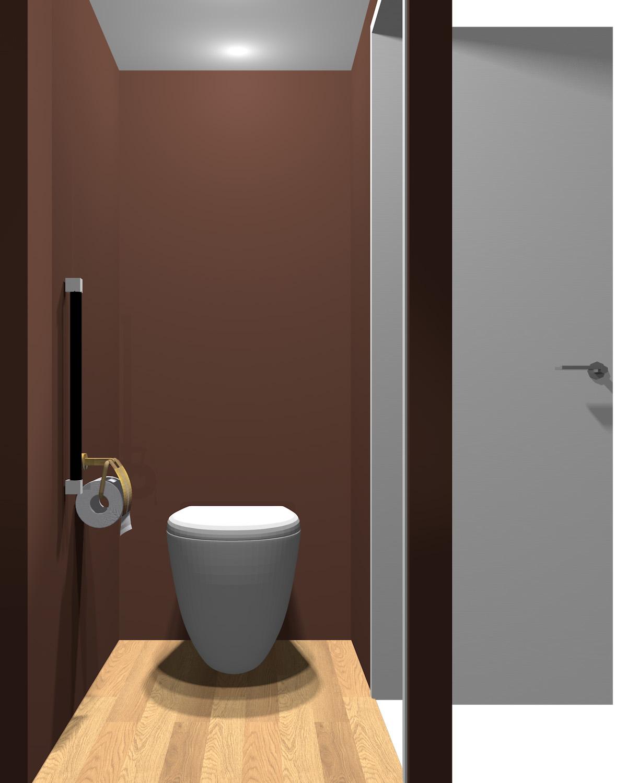 壁がダークブラウン系のトイレ
