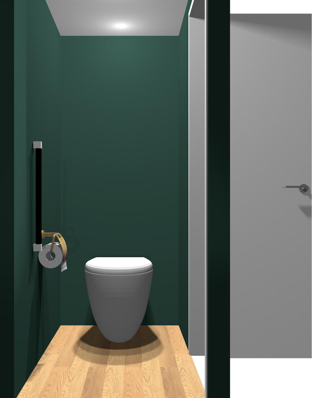 壁がダークグリーン系のトイレ
