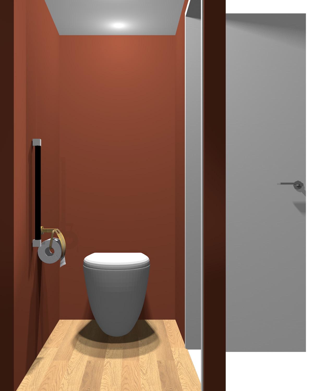壁がダークレッド系のトイレ