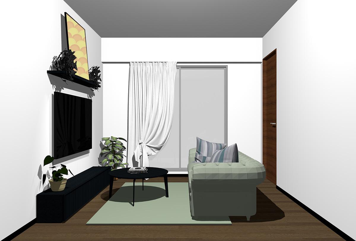 ダークブラウンの床とブラックの家具の北欧インテリア