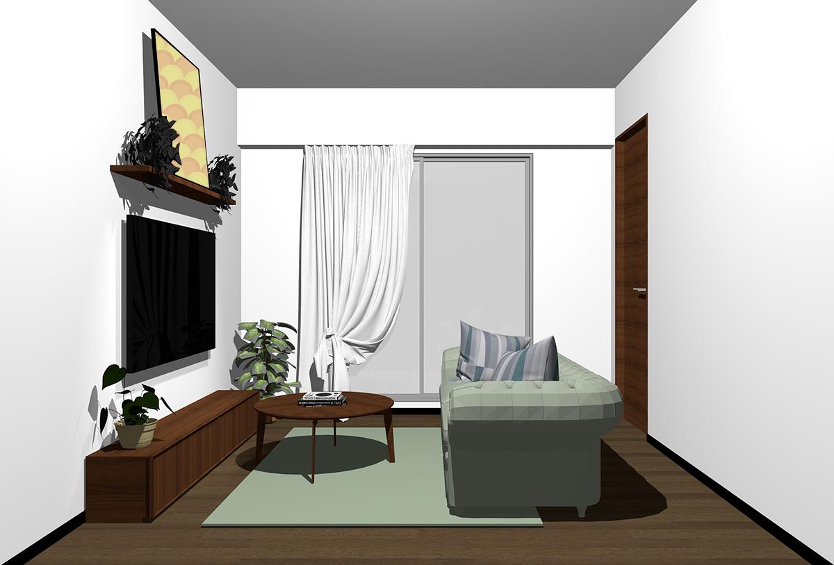 ダークブラウンの床×暗い茶色の家具の北欧インテリア