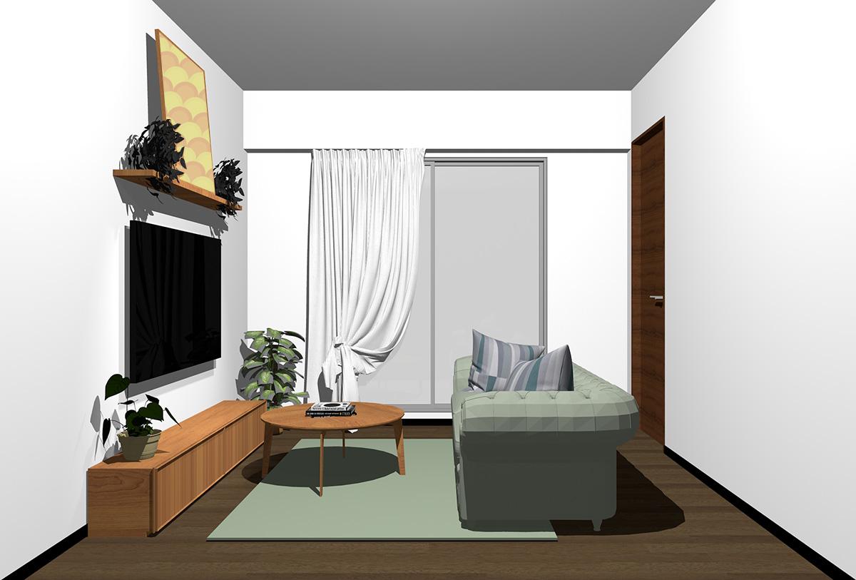 ダークブラウンの床×茶色の家具の北欧インテリア