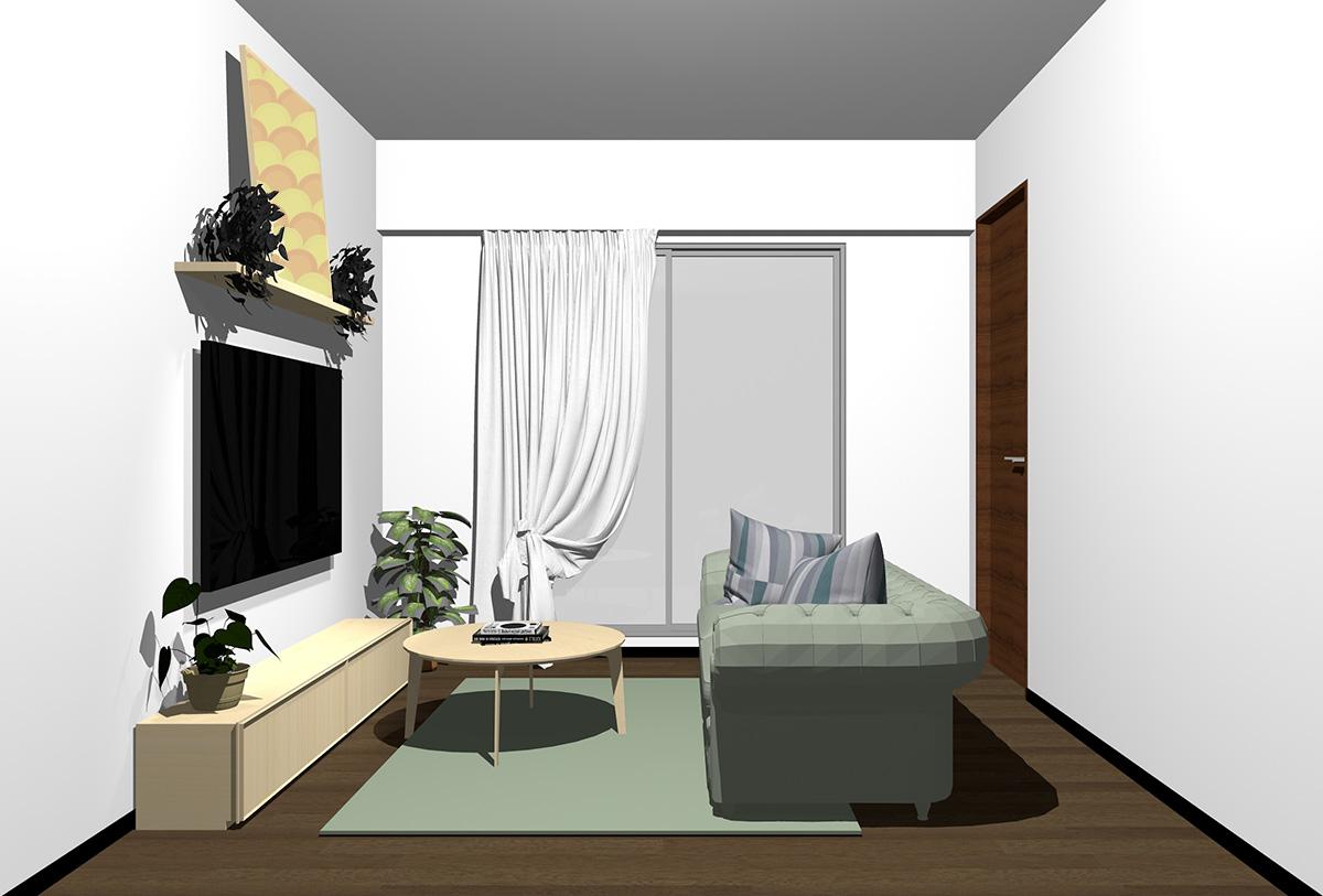 ダークブラウンの床×薄い茶色の家具の北欧インテリア