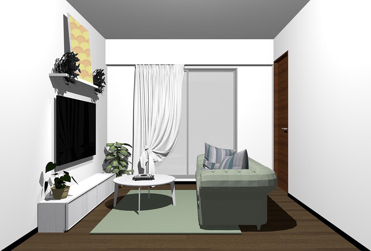 ダークブラウンの床×ホワイトの家具の北欧インテリア