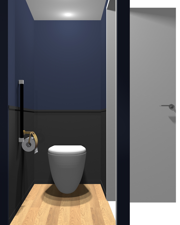 壁がダークブルー×ダークグレーのトイレ