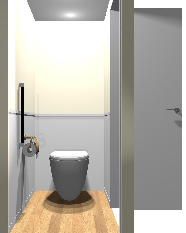 壁がグレー系×ベージュ系のトイレ