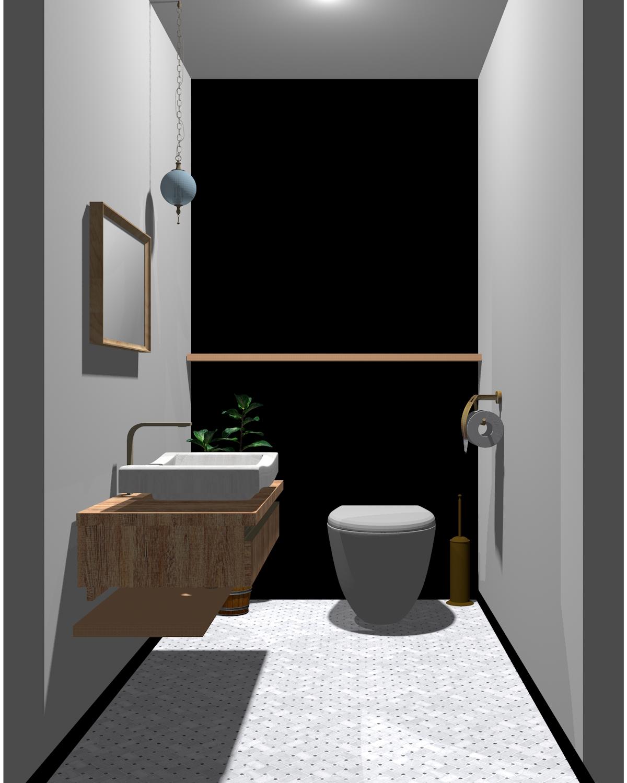 グレー×ブラック×木目のトイレ