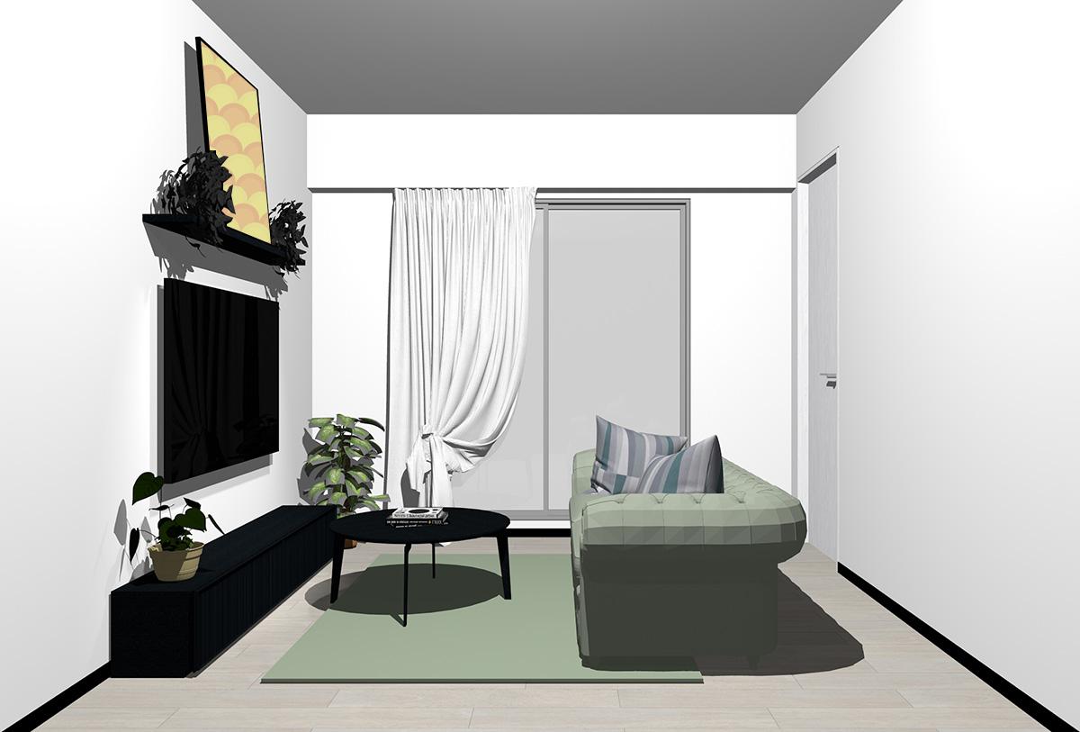 グレーの床×ブラックの家具の北欧インテリア