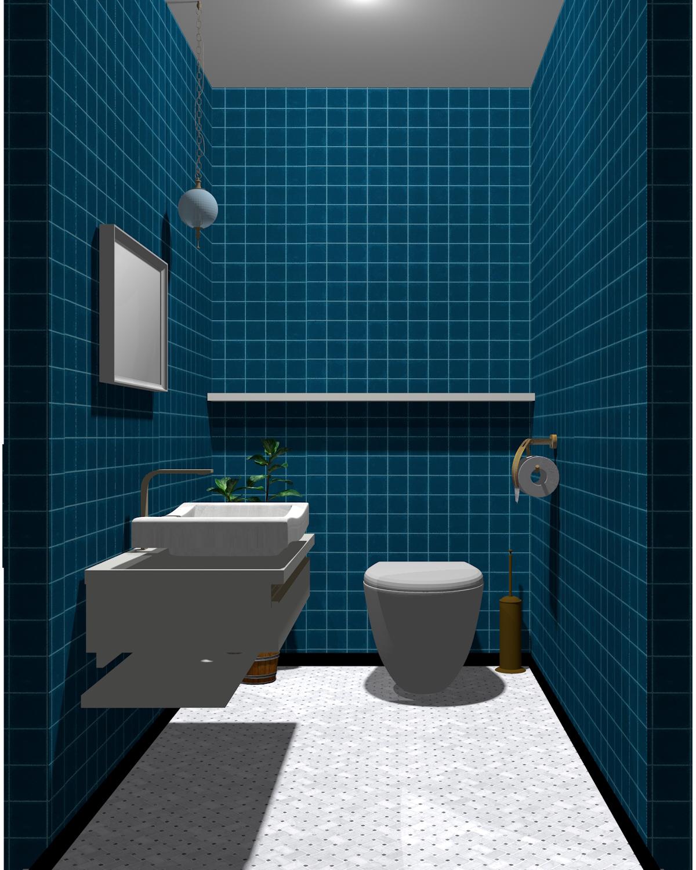 グレー×ブルー配色のトイレ