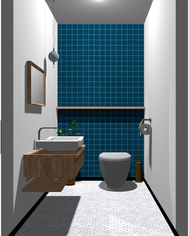 グレー×ブルー×木目のトイレ