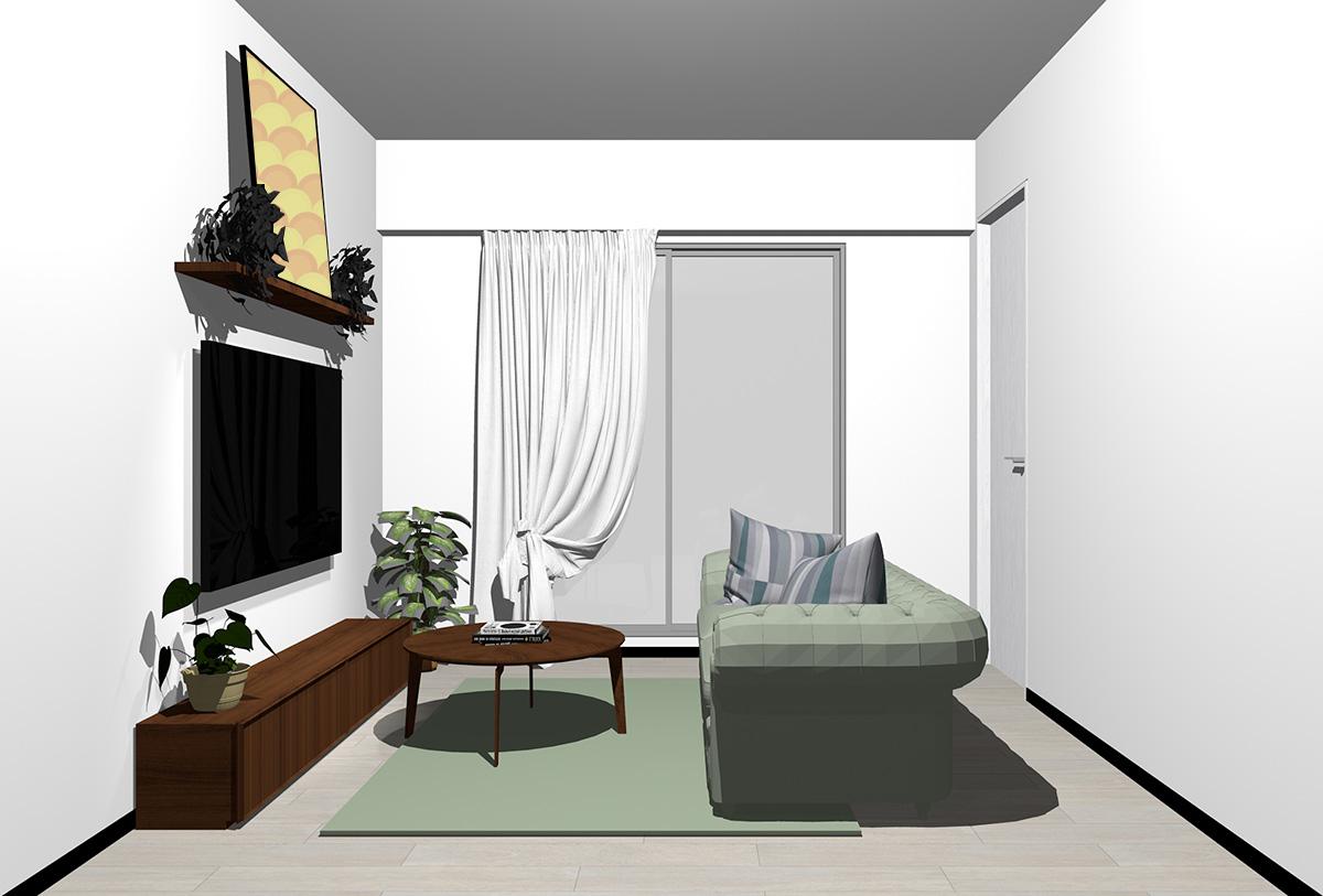 グレーの床×暗い茶色の家具の北欧インテリア