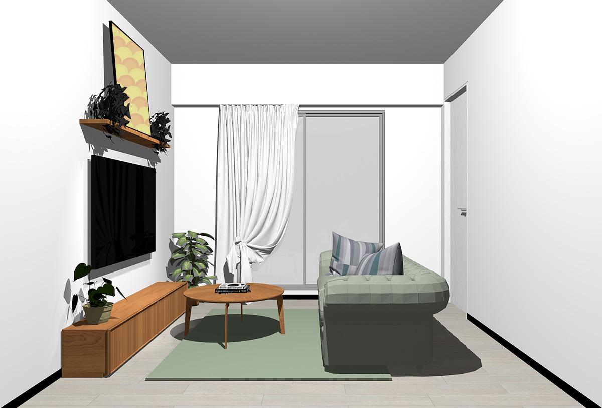 グレーの床×茶色の家具の北欧インテリア