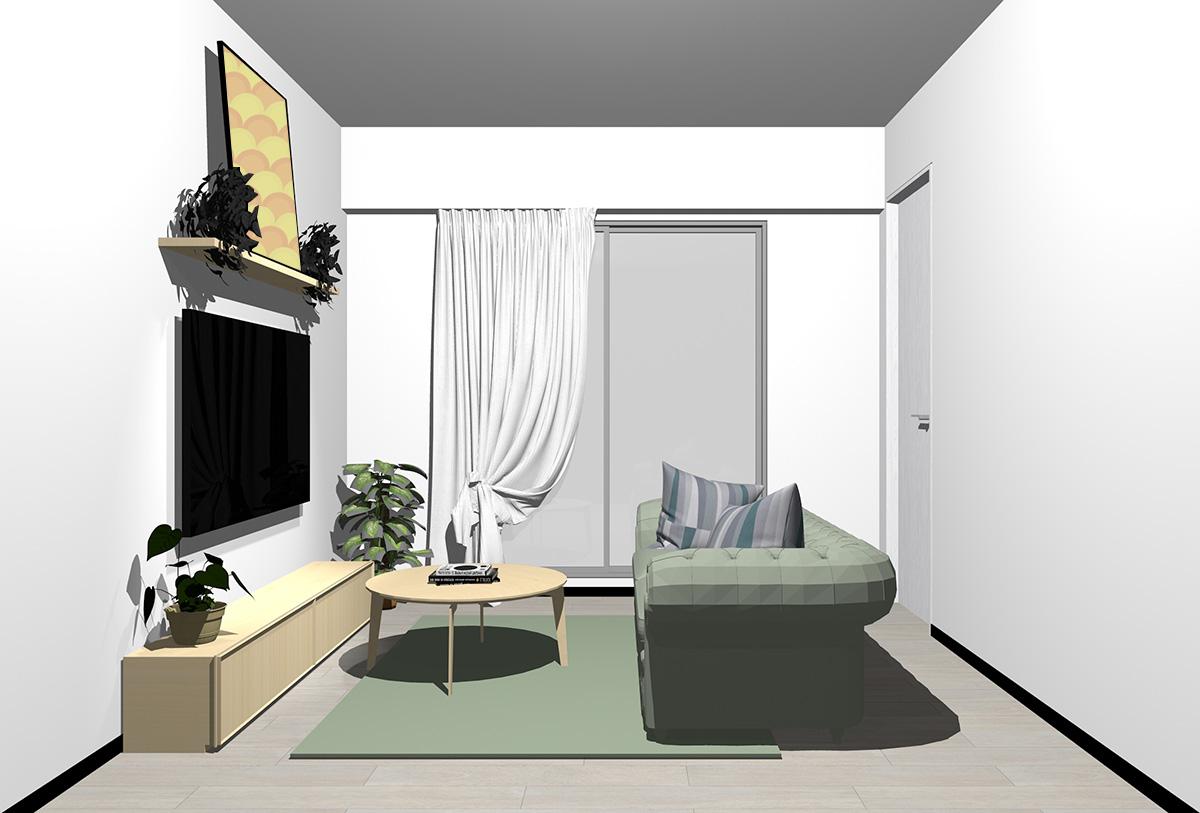 グレーの床×薄い茶色の家具の北欧インテリア
