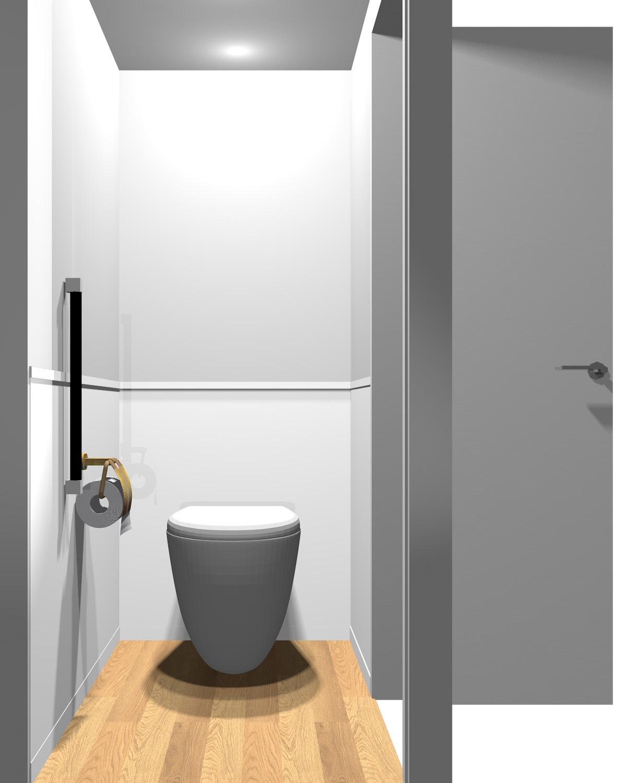壁がグレー系のツートンのトイレ