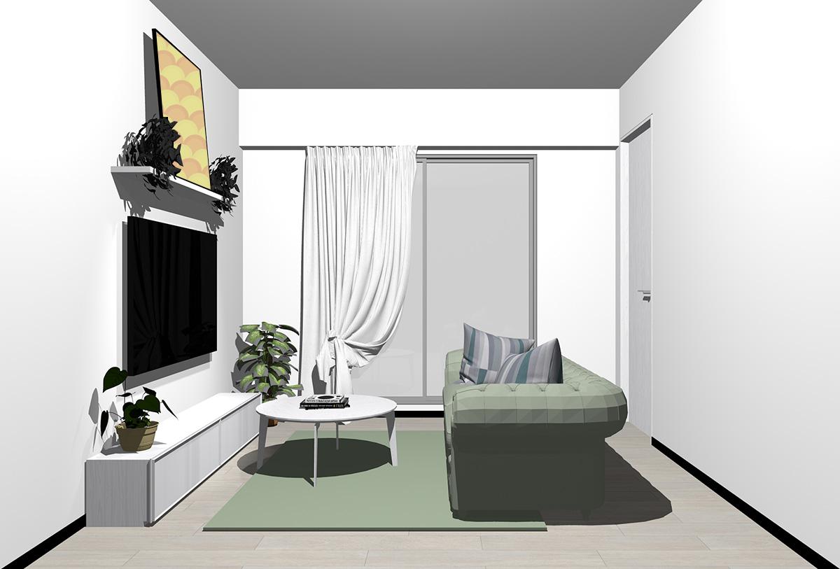 グレーの床×ホワイトの家具の北欧インテリア
