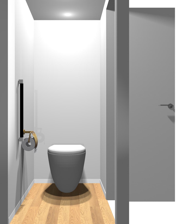 壁がグレー系一色のトイレ