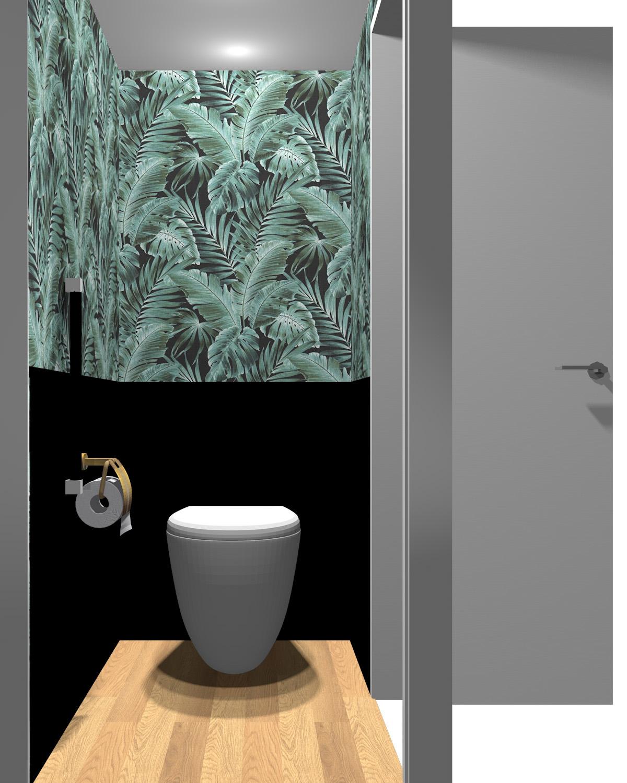 壁がグリーン×ブラックのトイレ