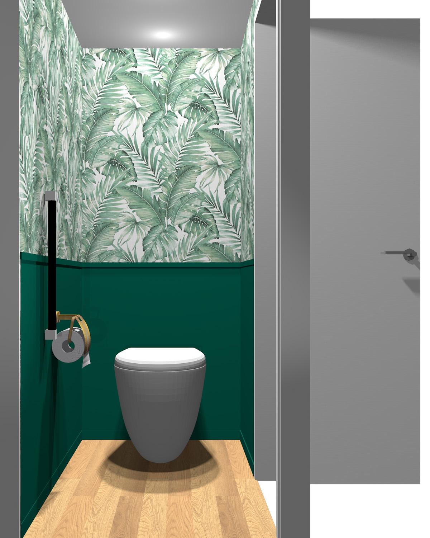 壁がグリーン(無地)×グリーン(パターン)のトイレ