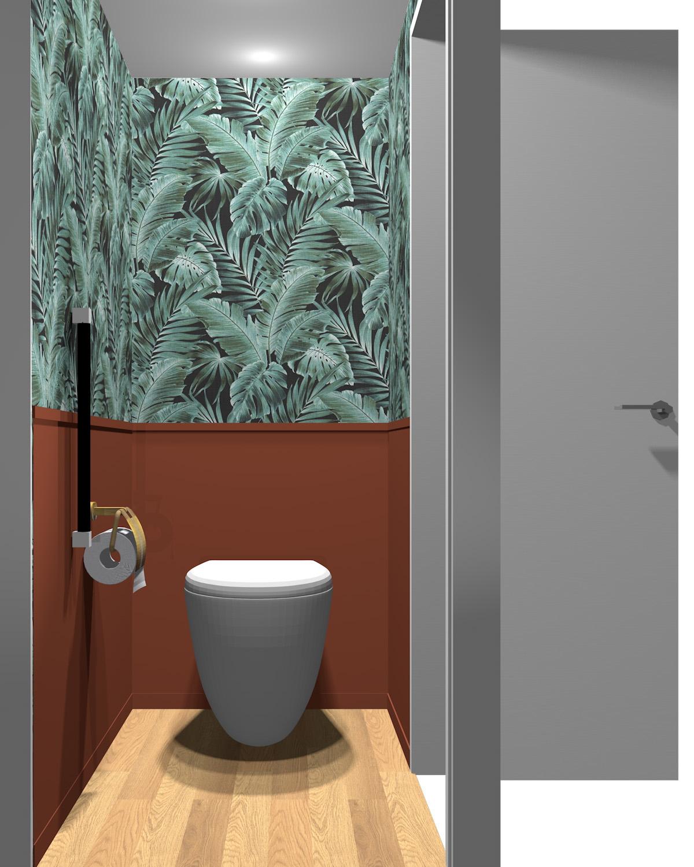 壁がグリーン×レッドのトイレ
