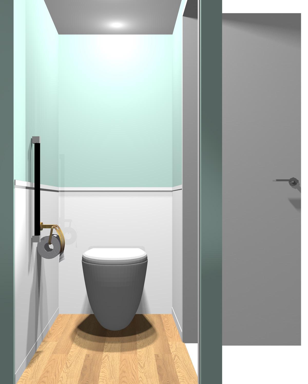 壁がグリーン系のツートンのトイレ
