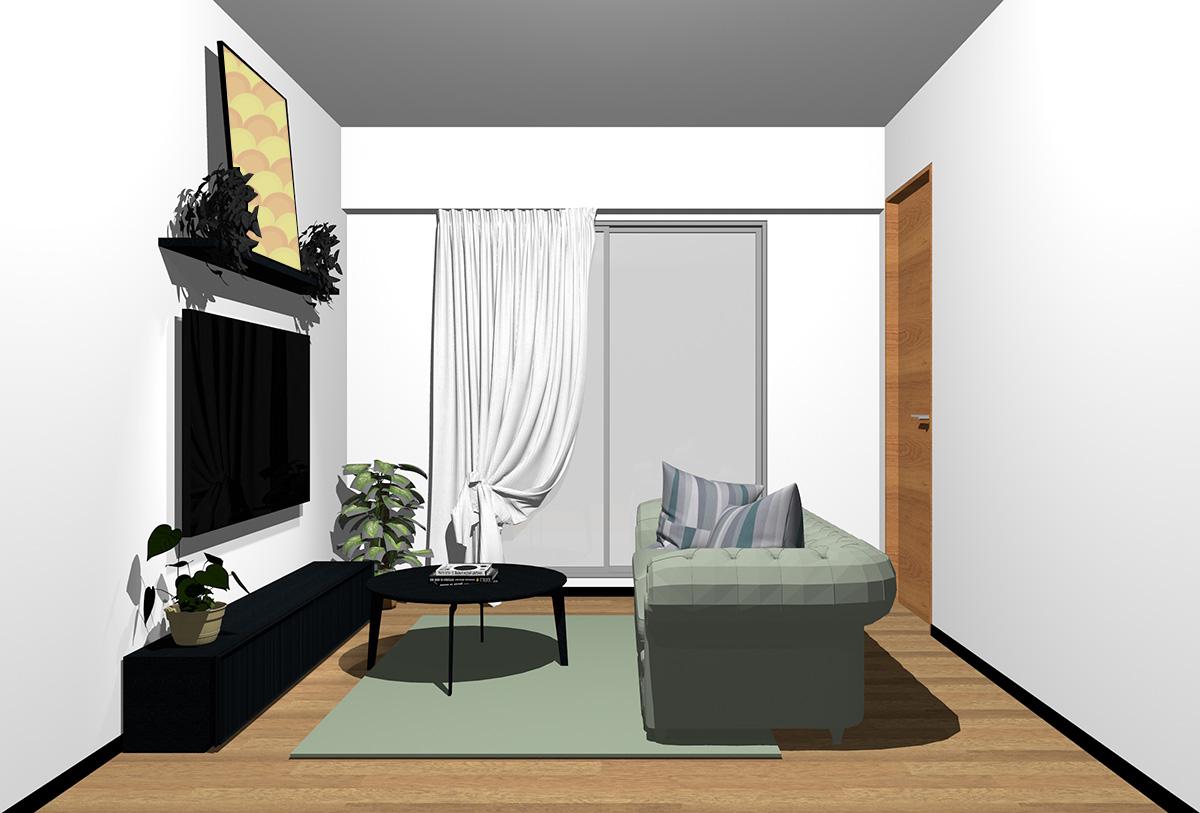 ミディアムブラウンの床×ブラックの家具の北欧インテリア