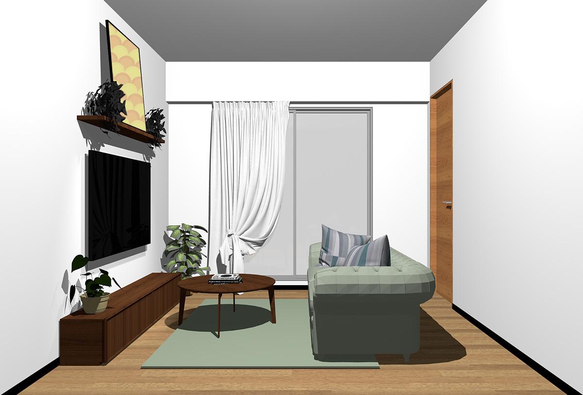 ミディアムブラウンの床×暗い茶色の家具の北欧インテリア
