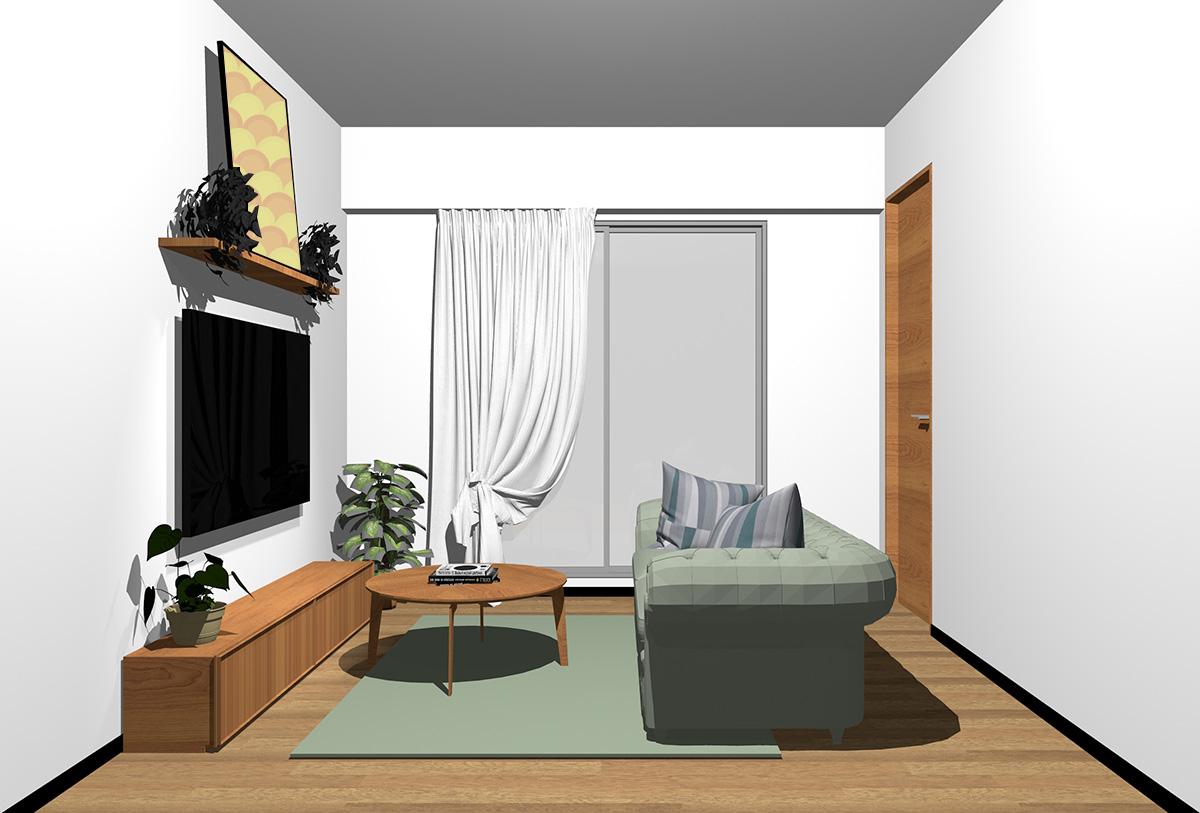 ミディアムブラウンの床×茶色の家具の北欧インテリア