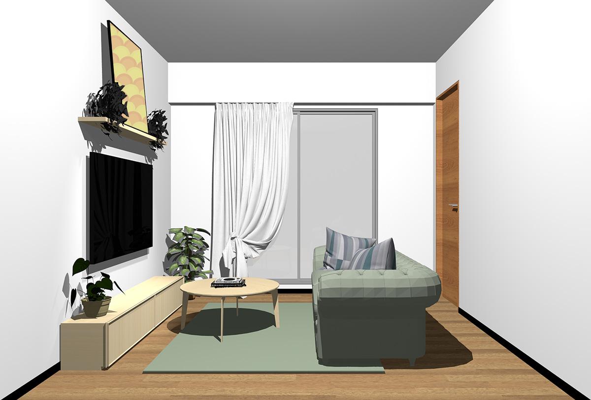 ミディアムブラウンの床×薄い茶色の家具の北欧インテリア