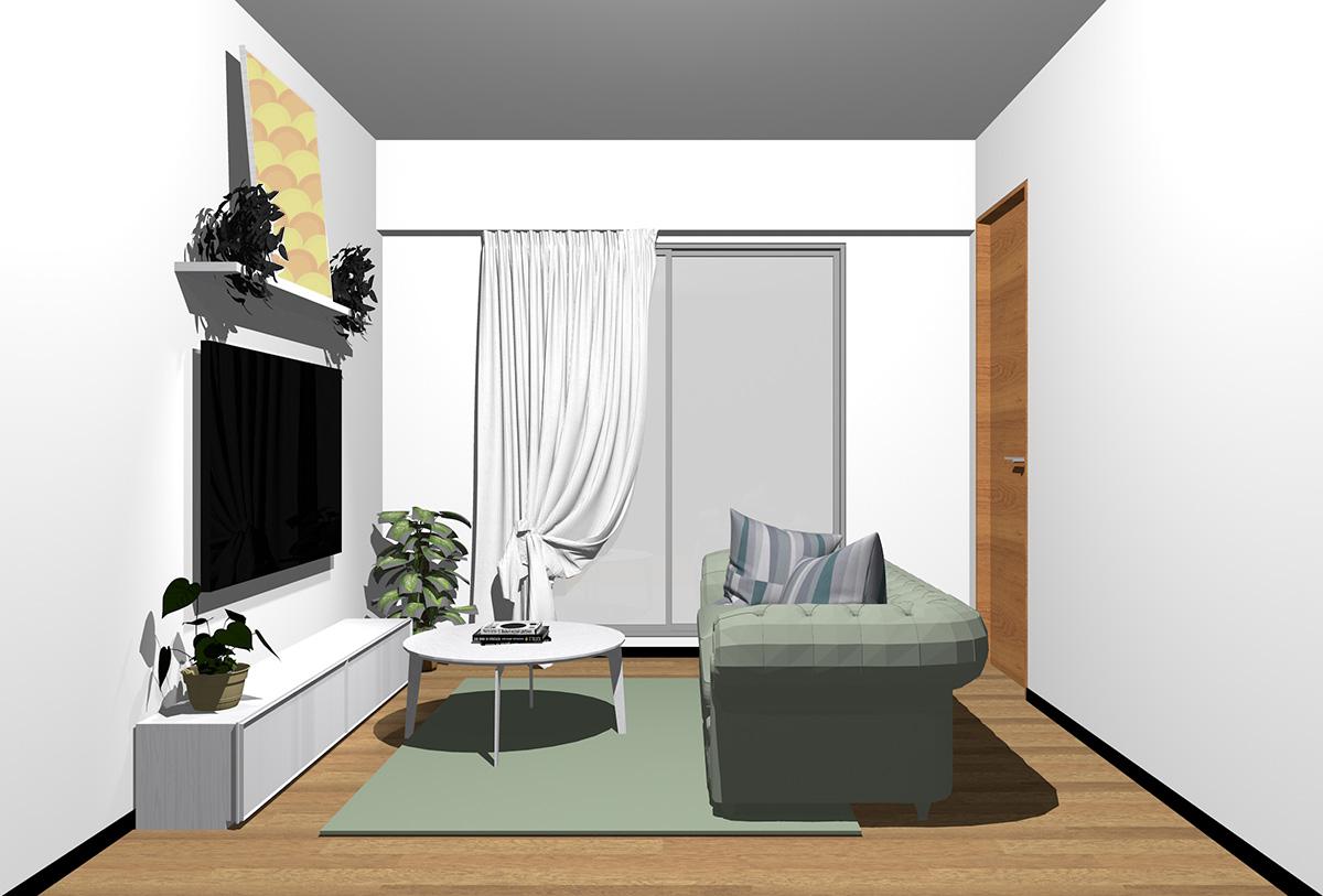 ミディアムブラウンの床×ホワイトの家具の北欧インテリア