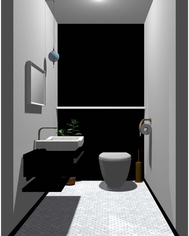 無彩色(モノトーン)配色のトイレ