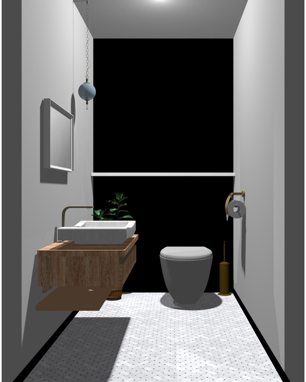 無彩色(モノトーン)×木目のトイレ