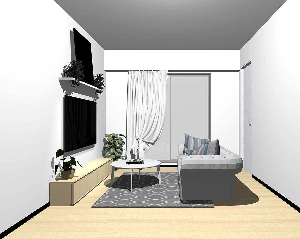 無機質系(無彩色を多く取り入れた生活感の無い配色)とグレーのソファ