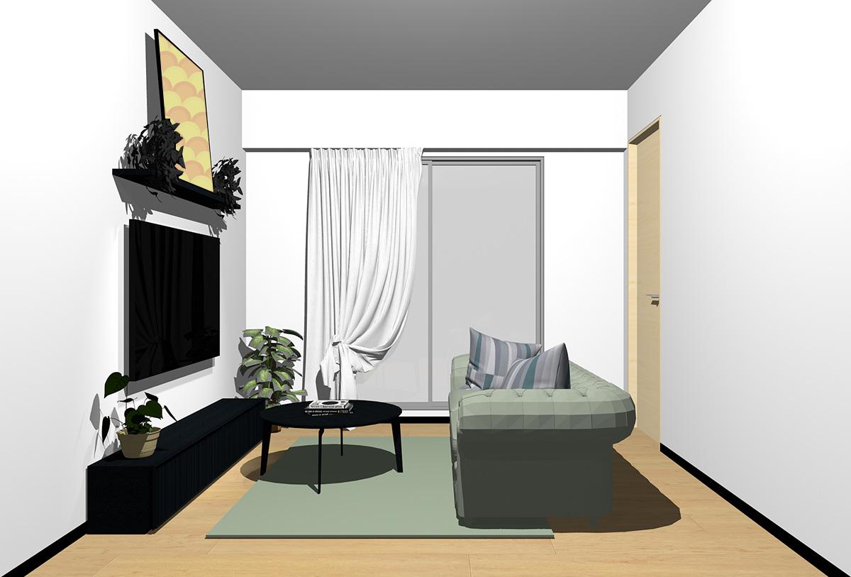 ナチュラルブラウンの床×ブラックの家具の北欧インテリア