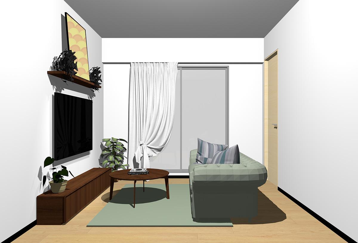 ナチュラルブラウンの床×暗い茶色の家具の北欧インテリア