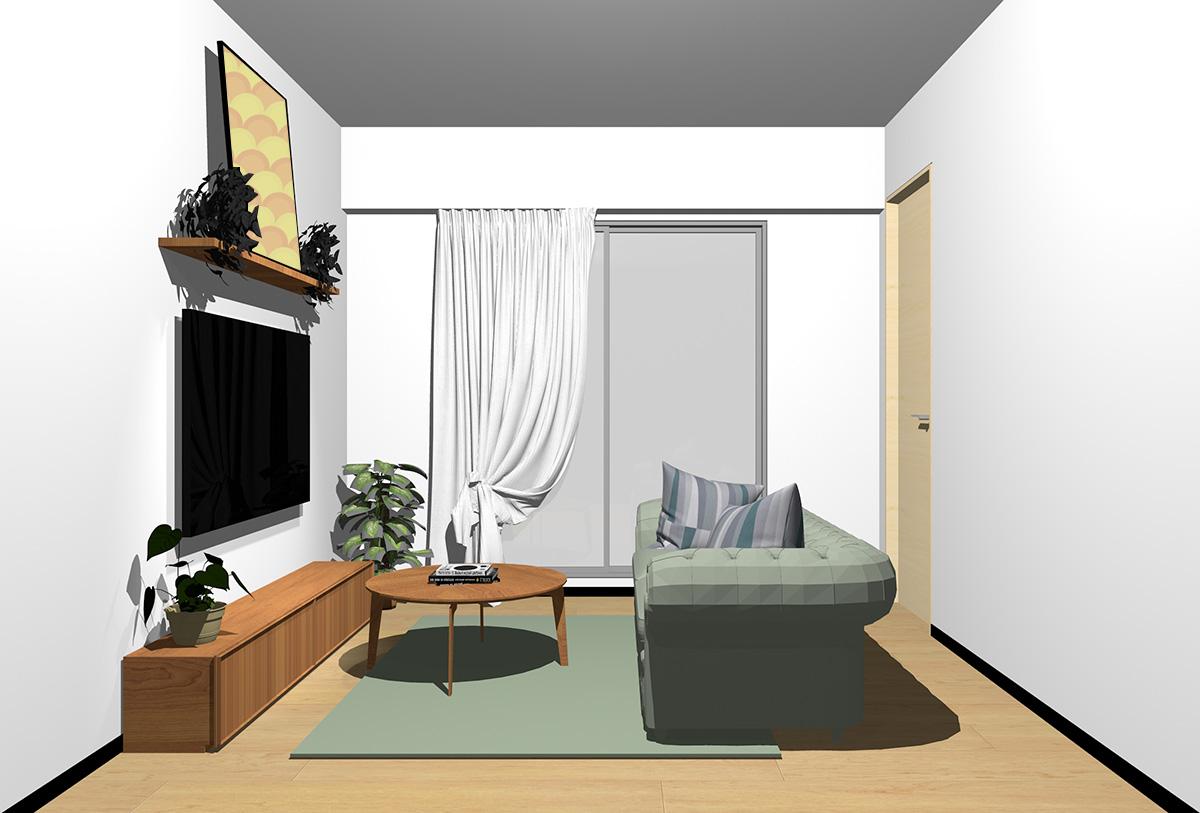 ナチュラルブラウンの床×茶色の家具の北欧インテリア