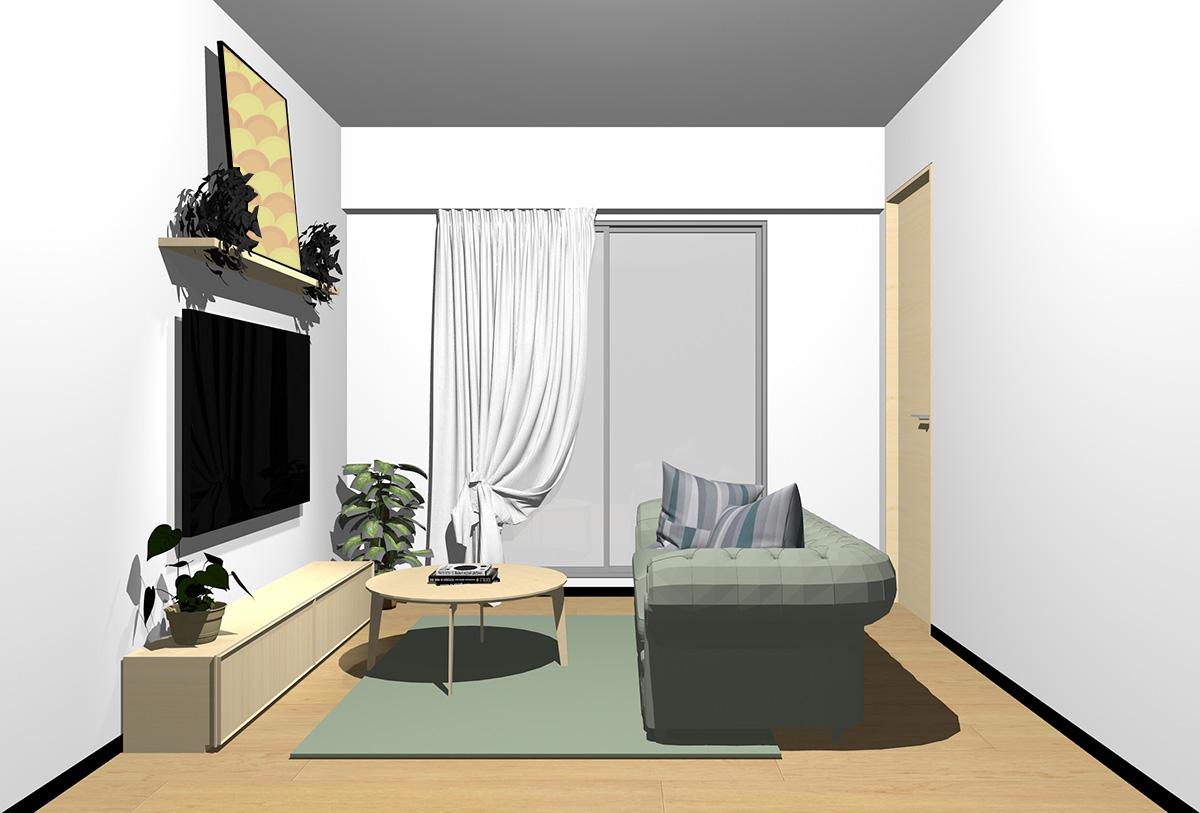 ナチュラルブラウンの床×薄い茶色の家具の北欧インテリア