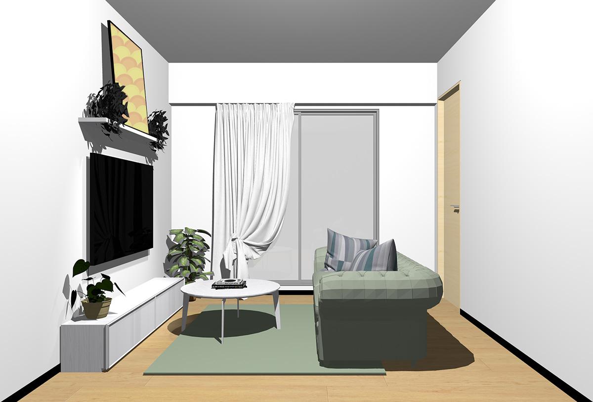 ナチュラルブラウンの床×ホワイトの家具の北欧インテリア