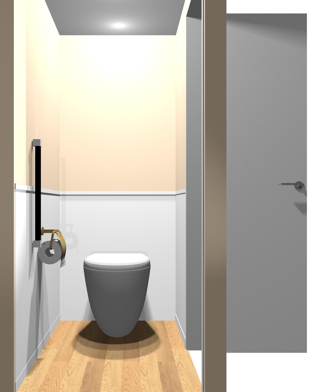 壁がオレンジ系のツートンのトイレ