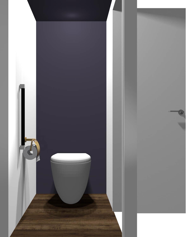短い方の壁が暗いトイレ