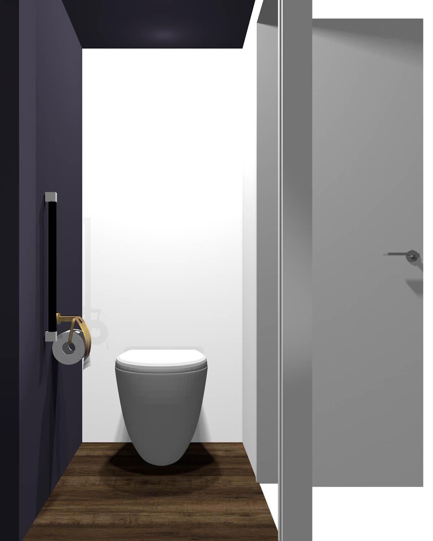 長い方の壁が暗いトイレ