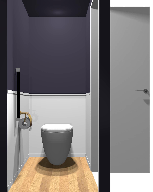 腰より上が暗いトイレ(床が明るい)