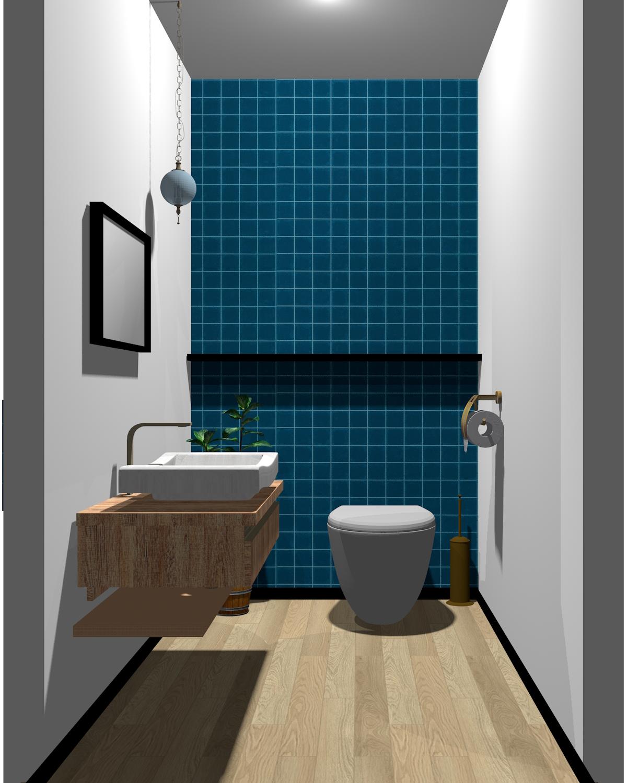 ホワイト×ブラック×ブルー×木目のトイレ