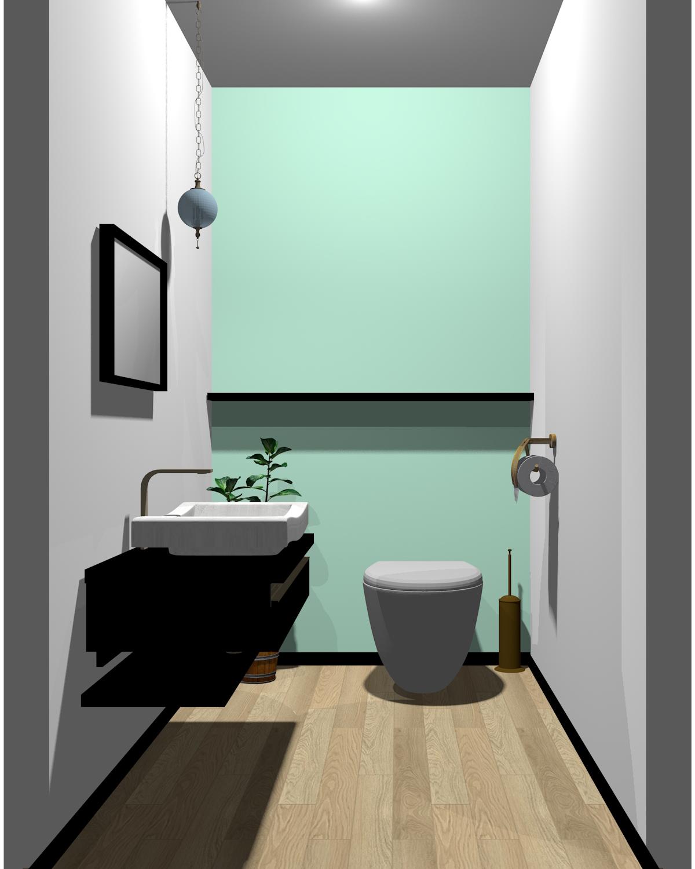 ホワイト×ブラック×グリーン配色のトイレ