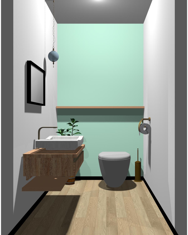 ホワイト×ブラック×グリーン×木目のトイレ
