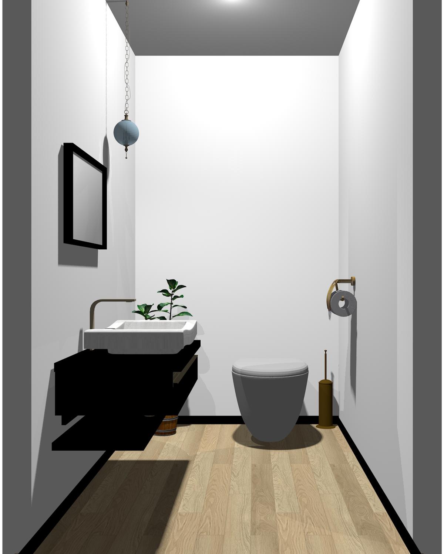ホワイト×ブラック配色のトイレ